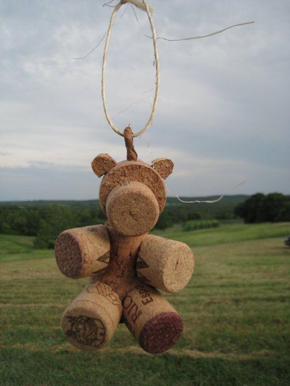 Wine Cork Teddy Bear Ornament von KrushedandKreated auf Etsy