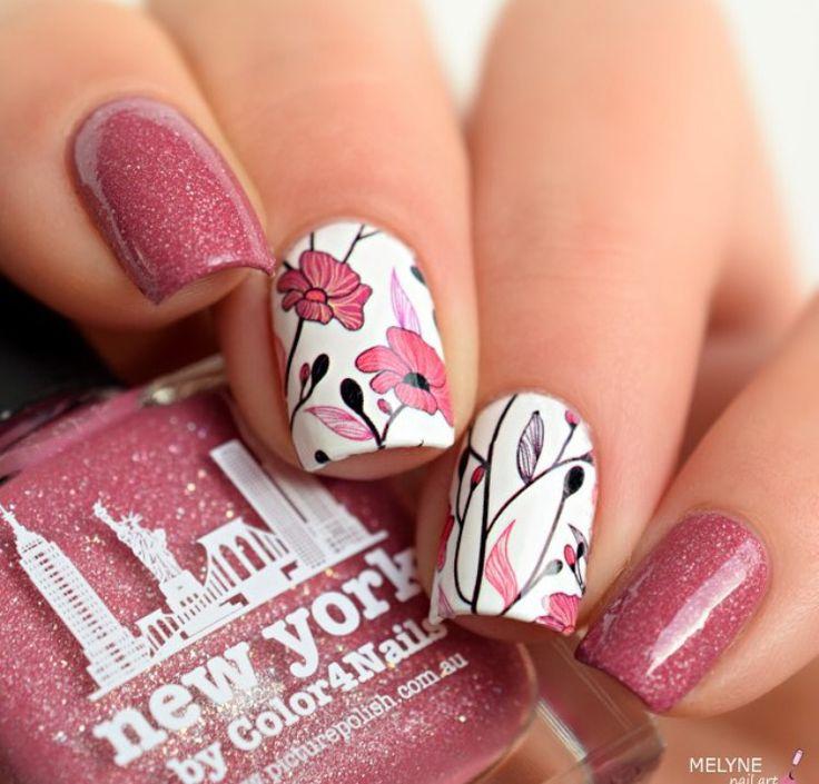 Lovely floral by @melynenailart