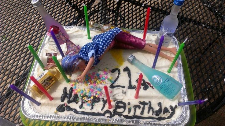 Megans 21st birthday cake. Mini liquor bottles, confetti vomit ...