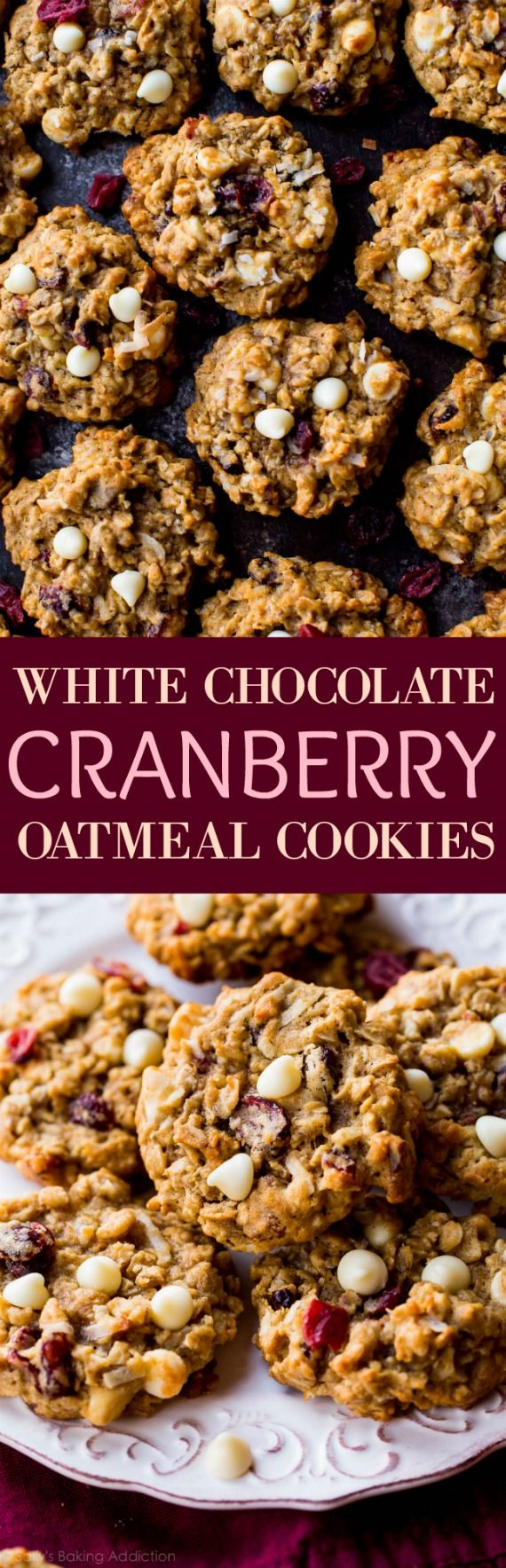 Soft-baked white chocolate cranberry and pecan oatmeal cookies have the most unbelievable flavor and chew! Recipe on sallysbakingaddiction.com