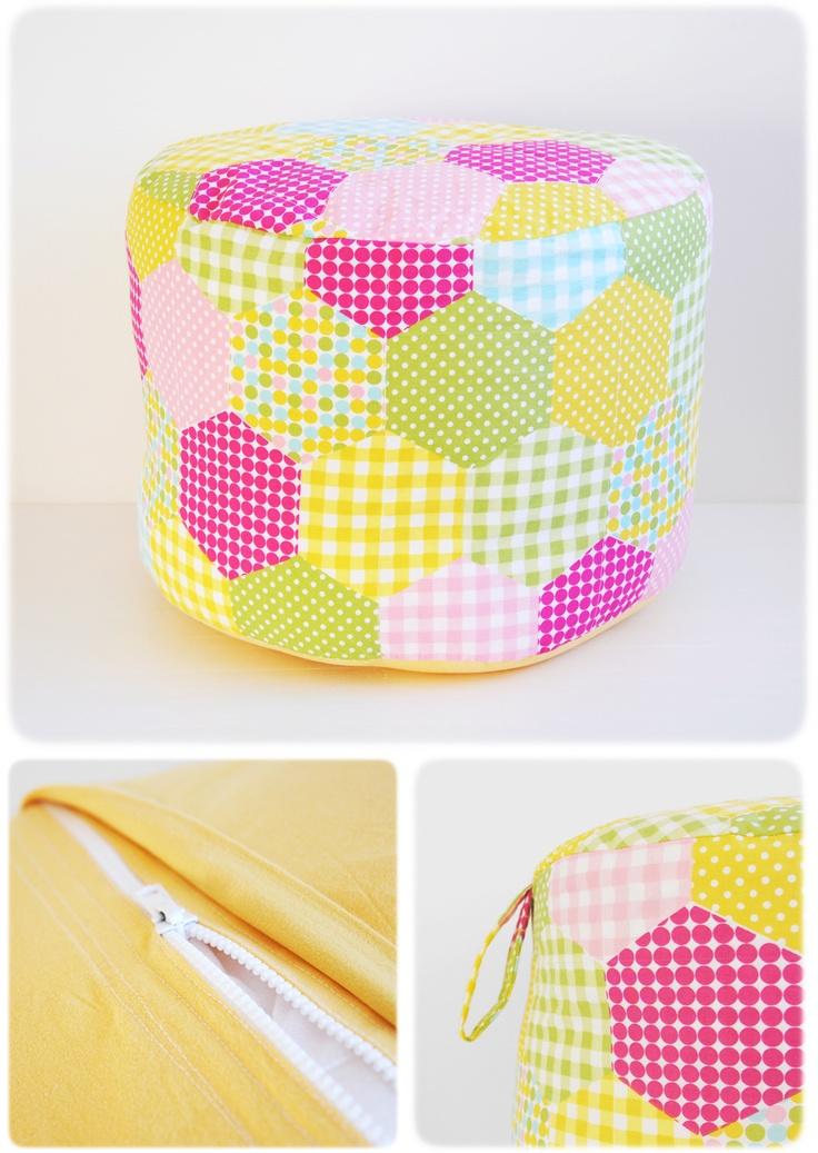 A hexagon patchwork pouffe