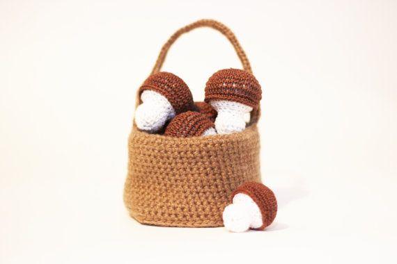 Crochet Mushrooms 2pcs Crochet Montessori toys Play Food