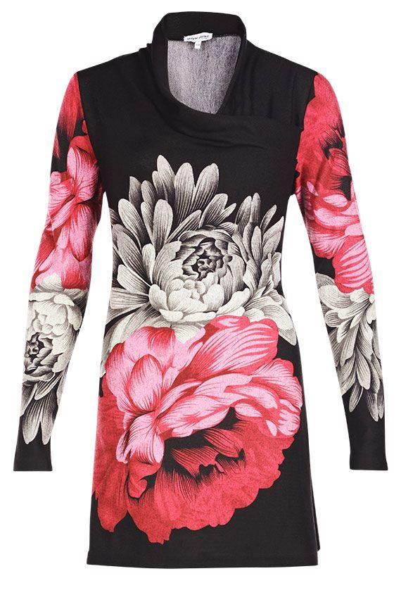 Tunique imprimée florale jersey brossé