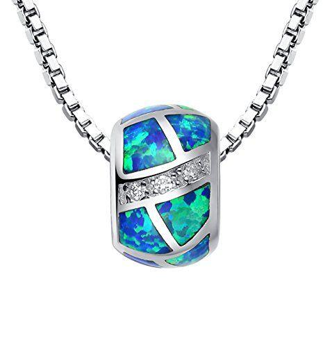 Sterling Silber Perle Charme mit Erstellt Blau und Grün Feuer Opal und Zirkonia Anhänger Halskette für Damen mit Italienisch Kette Box 45cm - Sc019n46 Arco Iris Schmuck http://www.amazon.de/dp/B00FFKIJS0/ref=cm_sw_r_pi_dp_DfIpvb0JHJJM6