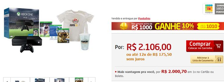 Xbox One 500GB  Jogo Fifa 16  1 Mês de EA Access  Jogo Far Cry Primal - Limited Edition  Brindes << R$ 189540 em 12 vezes >>