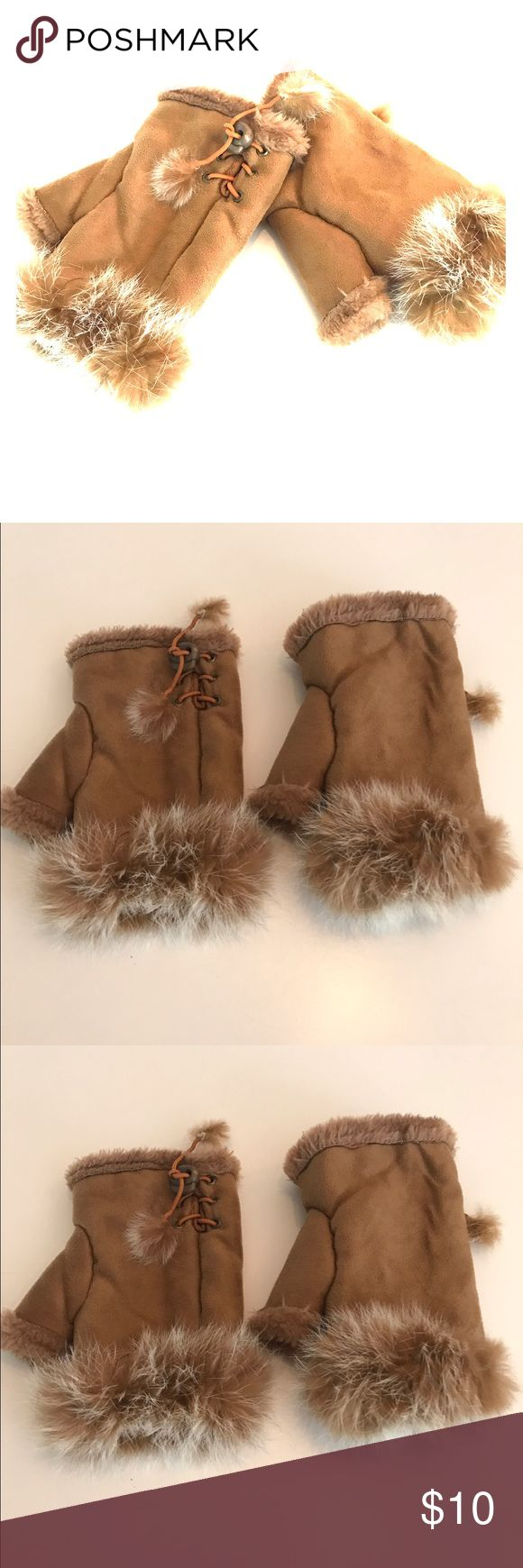 Camel new fingerless suede for gloves Super cute fingerless one size fits all with cute lace that material on the inner part of the club with further details Macy's Accessories Gloves & Mittens