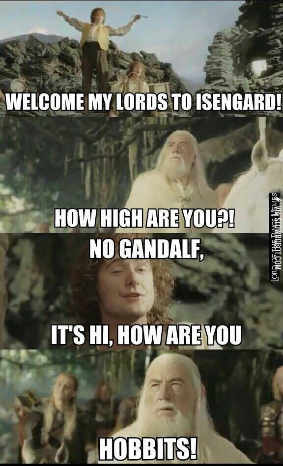 Okay, I don't really like memes about highness and drunk people, but this one is too good. LOTR