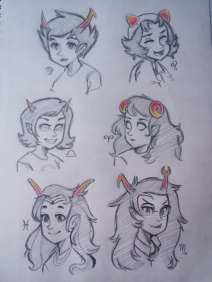 drew some homestuck female trolls