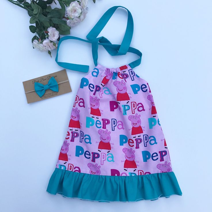 A personal favorite from my Etsy shop https://www.etsy.com/listing/547509659/peppa-pig-sundress-and-bow-headbandbaby