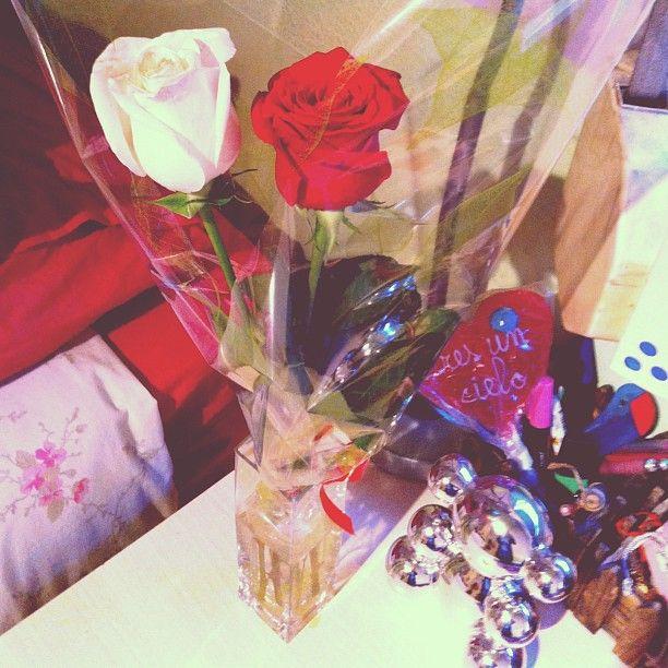 Que te despierten un sabado a las 7 de la mañana asi no tiene precio !!!! #love #myboy #thebest #surprise #iloveit #redroses #whiteroses #ichliebedich #afgreki' #jet'aime #vosamo #yavasliubliu #dangsinulsarangheeyo #instahappy #intamoment #instaday by raaquel17