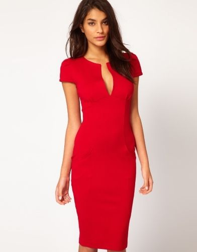 (12.6$)  Buy here  - Sexy Fashion Women Pencil Dress Plunge V-Neck Pocket Slim Bodycon Midi Dress OL Work Party Red