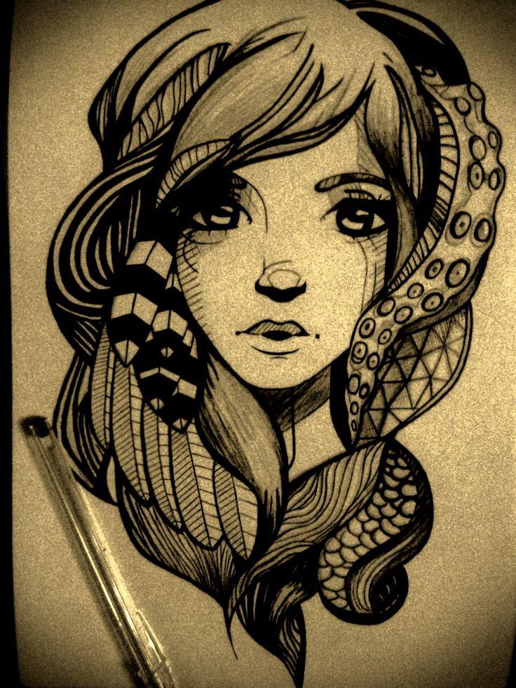 Dibujo realizado con esfero de color negro en una cartulina blanca A4. Realizado por Steven Inca (14 años) el 28 de febrero de 2014.