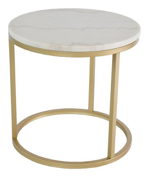 Accent soffbord marmor runt, Ø50, vit/mässing