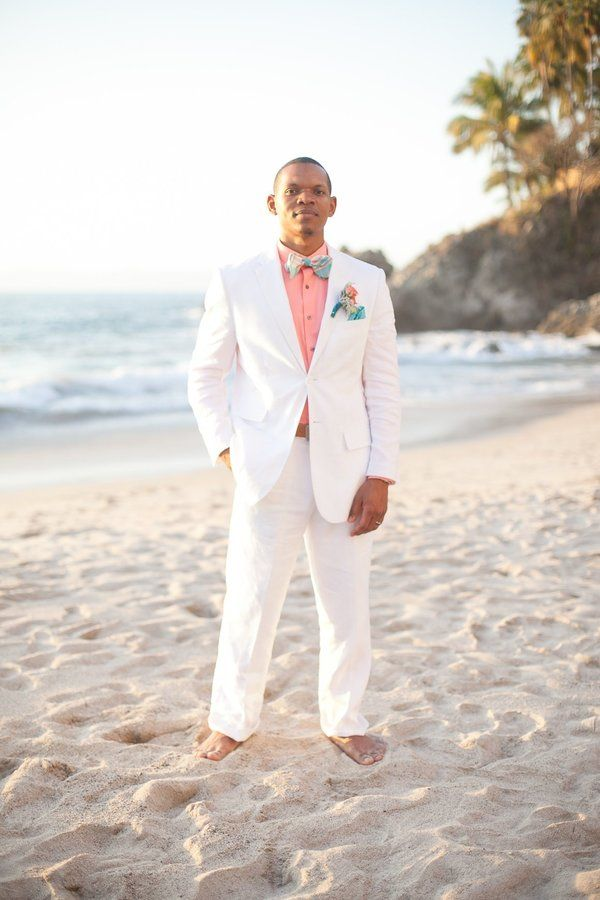 White beach wedding suit for the groom.