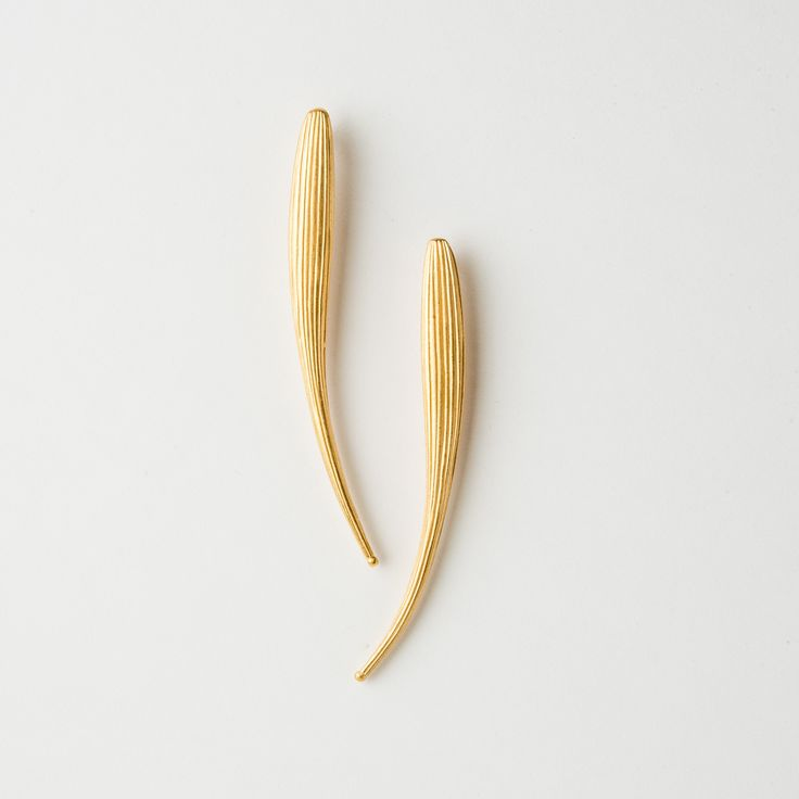Catherine Hills: Long Organic Grass Reed Gold Plated Earrings