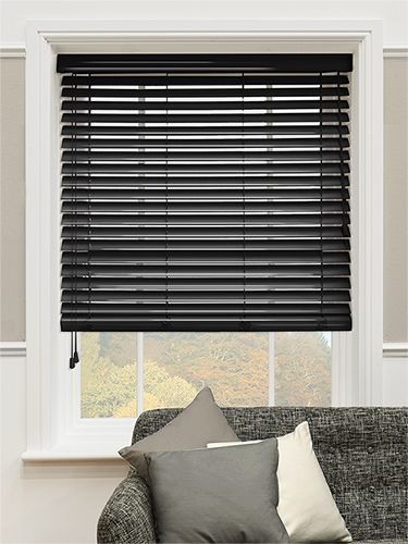 high gloss black faux wood blind 50mm slat - Kitchen Blind Ideas