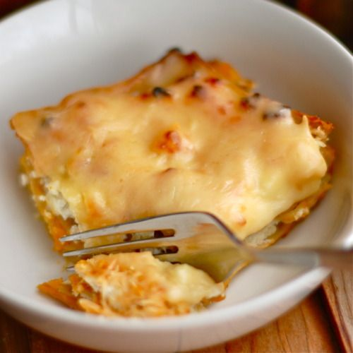 Again, a healthier (no-meat) version of a pasta dish: lasagna with butternut squash!  I would skip the Parmesan cheese and just put in the Gouda.  Pair with pumpernickel toast and a salad?  YUM.