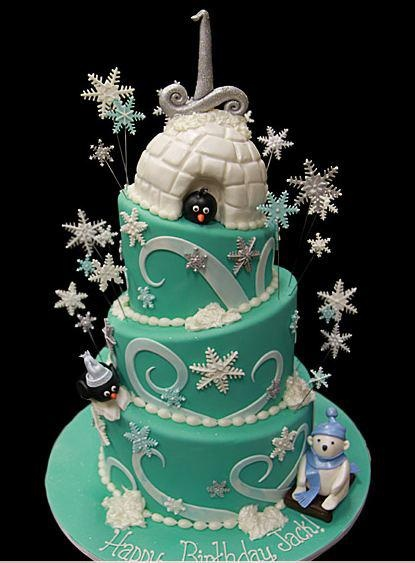 winter wonderland penguin iglee polar bear cake