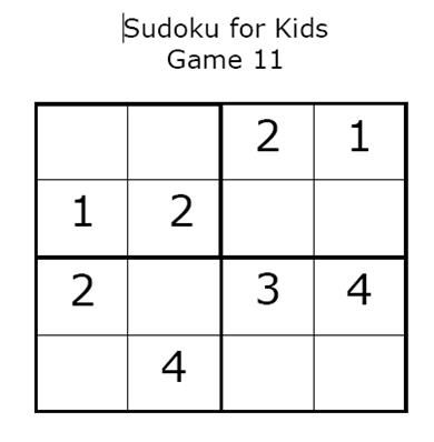Kid's Sudoku: Game 11