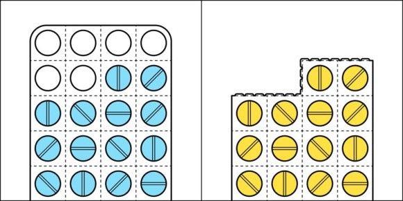 錠剤の飲み方:シートはそのまま・使った分のシートは切り取る