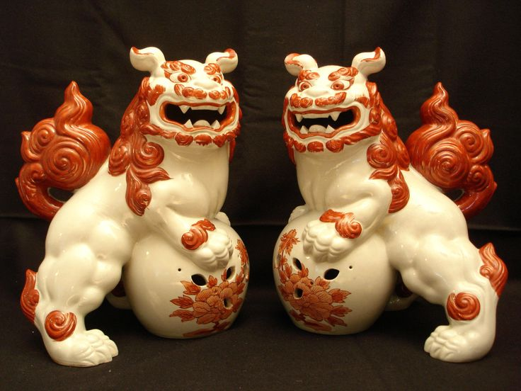 "12"" HIGH JAPANESE TAISHO PERIOD KUTANI FOO DOG / SHISHI / TEMPLE LION | eBay"