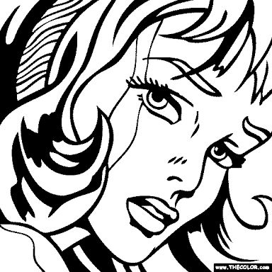 Pop art coloring page draw pinterest art for Roy lichtenstein coloring pages