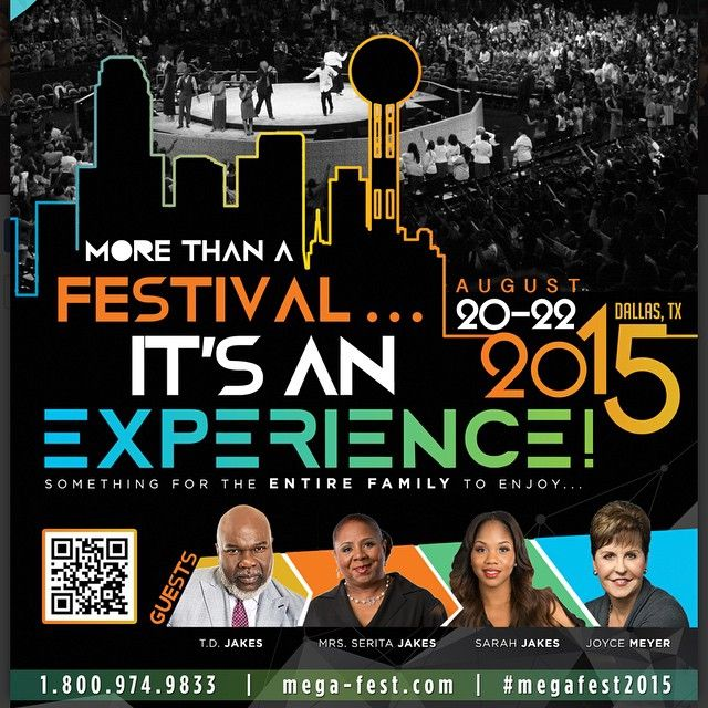 """""""This year, more than 85,000 attendees from over 30 countries will descend upon Dallas for MegaFest 2015, hosted by T.D. Jakes, from August 20 to 22.  The three–day festival is returning to #Dallas after tremendous success in 2013. More than 75,000 attendees visited the Downtown Dallas Business District during MegaFest 2013, bringing an estimated economic impact of over $41 million. Oprah attended the event in 2013 and more high profile celebrities will be here again. Plan to attend and set…"""