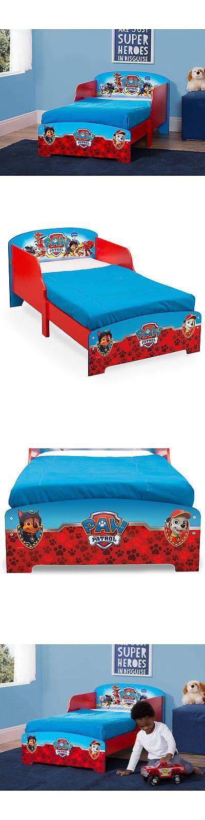 Kids Furniture: Paw Patrol Toddler Bed W Attached Guardrails Wood Frame Kids Furniture Nick Jr. -> BUY IT NOW ONLY: $93.09 on eBay!