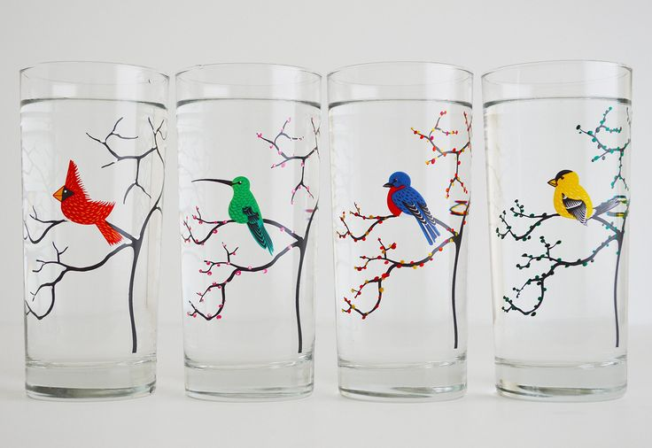 The Four Seasons Bird Glassware - Set of Four 16 oz Glasses - Red Cardinal, Hummingbird, Finch and Bluebird, Everyday Bird Glasses. A special glassware collection of birds with the Four Seasons. A Cardinal, Bluebird, Finch and Hummingbird perched on tree branches hand painted with the changing Four Seasons. These everyday glasses are great for enjoying year round. The are perfect for families of four because each person can have their own unique glass. A thoughtful gift for bird watchers…