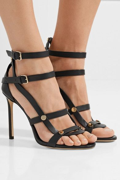 jimmy choo motoko 100 studded leather sandals net a porter com rh pinterest com