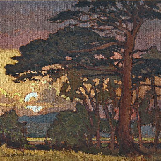 "Craftsman Sunset by Jan Schmuckal Oil ~ 12"" unframed 20"" framed x 12"" unframed 20"" framed #tree #landscape #art"