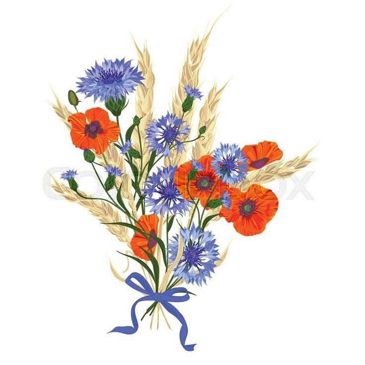 Poppy and cornflower bouquet
