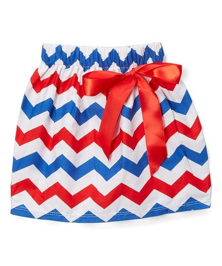 Royal Gem Red & Blue Chevron Bow Skirt - Infant | zulily