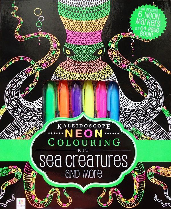 Buku Aktifitas Bahasa Inggris : Kaleidoscope Neon Colouring Kit Sea Creatures and more!, Yuk, warnai semua gambar di buku ini dengan 6 neon highlighters....