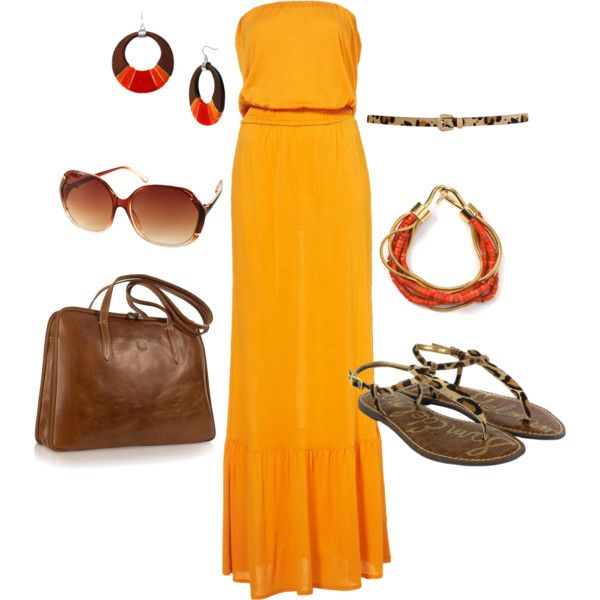 Sunset colours. Maxi dress, skinny belt, leopard print, orange hues.