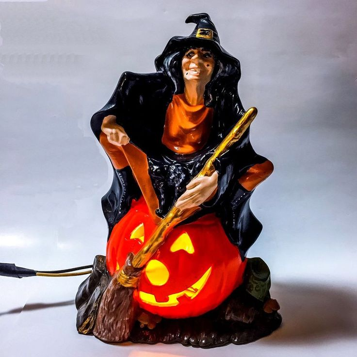 ceramic lighted witch with broom sitting on pumpkin halloween decoration decor - Ceramic Halloween Decorations