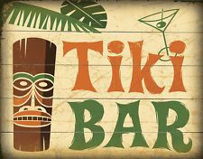Tiki Bar grandi Cartello in metallo latta Poster Muro Targa Pub Bar Decorazioni da parete