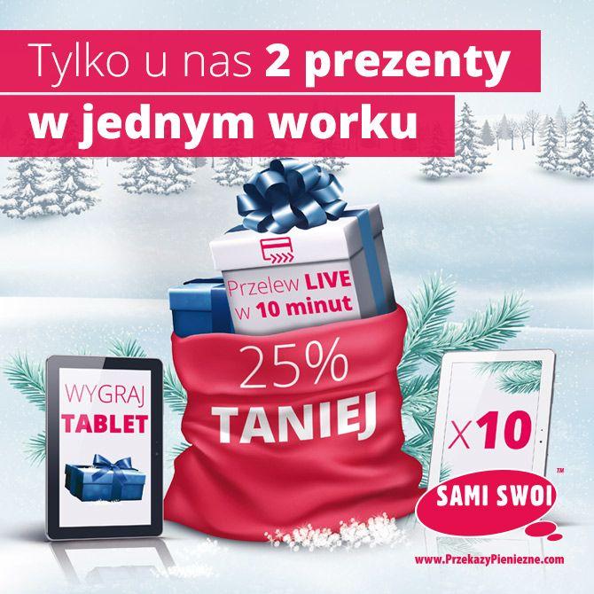 Tylko w #SamiSwoi 2 prezenty w jednym worku. Codziennie do wygrania tablet Samsung Galaxy Tab A. Teraz także przelew LIVE w 10 minut 25% taniej za 5.90 GBP lub 5.90 EUR.
