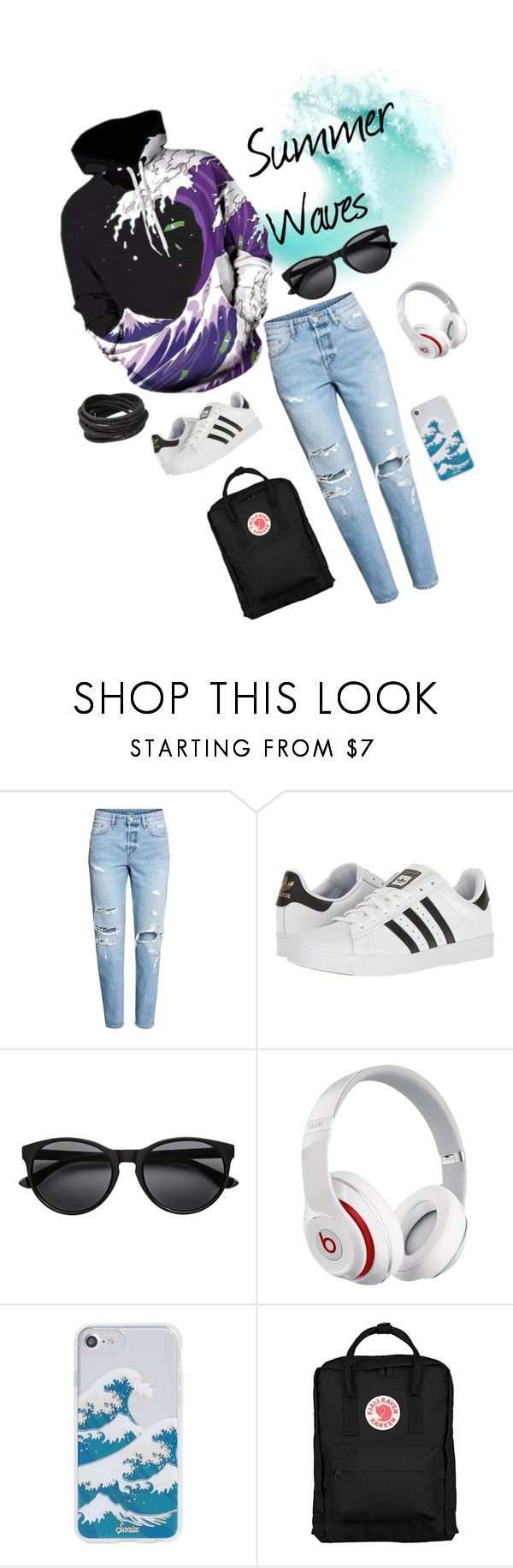 """Summer Waves"" by breezeshirt on Polyvore featuring H&M, adidas, Beats by Dr. Dre, Sonix, Fjällräven, Pavcus Designs, StreetStyle, denim, grunge and casualoutfit"
