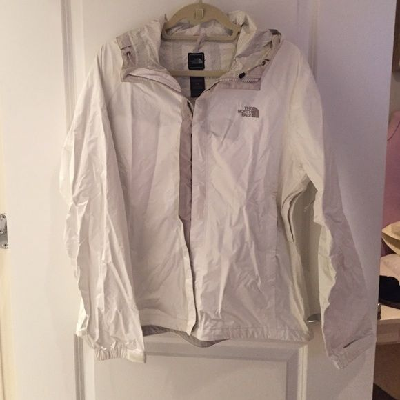White North Face Rain Jacket Light weight, white rain jacket. Barely worn! North Face Jackets & Coats
