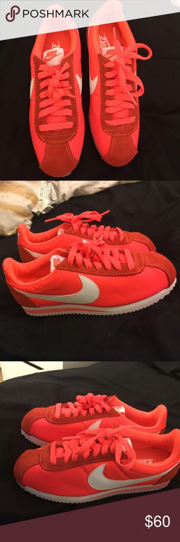Nike Cortez Brand New Orange and white nike Cortez Shoes Athletic Shoes