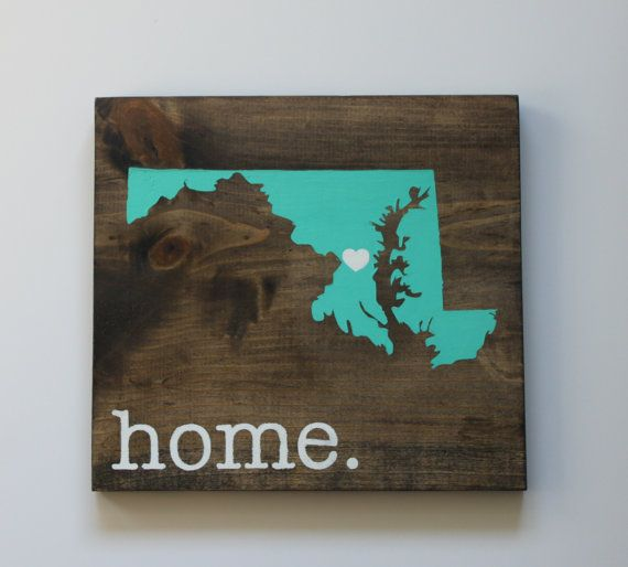 Maryland Wood Sign State Sign Custom Wood Sign by sixtyfourco
