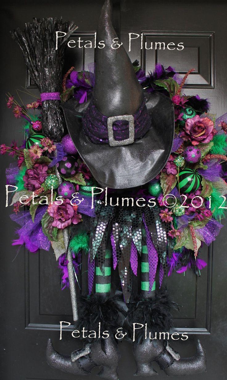 "Halloween Wreath-Fall Wreath-""Esmerelda the Wicked Witch"""