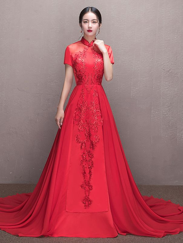 Mandarin Collar Short Sleeve Beaded Red Trailing Chinese Bridal