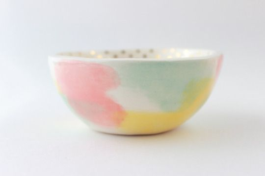 Gold Polka Dot Bowl by quietclementine on Etsy