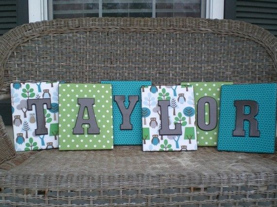 canvas covered with fabric then painted wood letters!Painted Wood, Painting Letters, Canvas Covers, Cute Ideas, Kids Room, Scrapbook Paper, Painted Letters, Wooden Letters, Painting Wood Letters