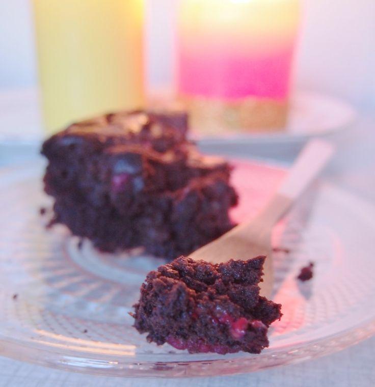 Vegan & glutenvrije brownies met frambozen