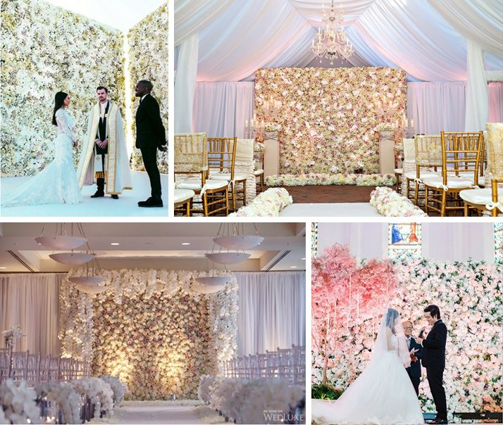 Tło ceremonii ślubnej - Ściana z żywych kwiatów lub ziół