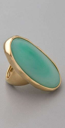Kenneth Jay Lane Satin Gold & Jade Oval Ring