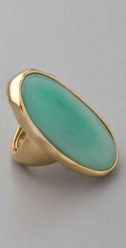 Kenneth Jay Lane Satin Gold & Jade Oval Ring